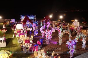 open air event, mehndi decor with flowers, outdoor event