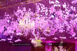 hanging garden, maple leaves decor, hanging chandeliers, pearl beads decor
