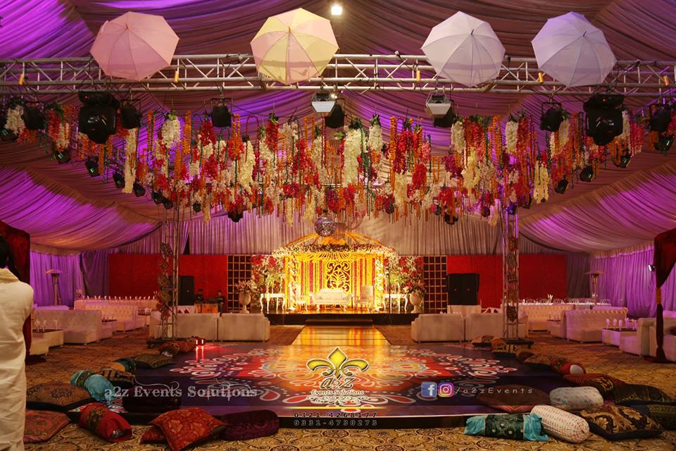 mehndi event planner, grand mehndi setup, dance floor, hanging garden, four sided truss