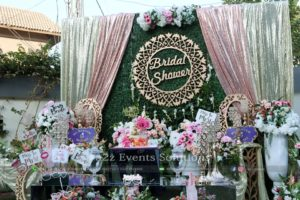 backdrop, bridal shower stage, fresh flowers decor, thematic decor experts