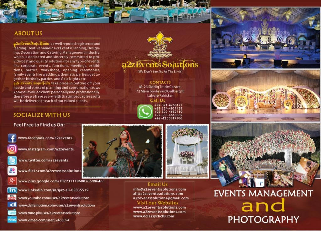wedding packages, wedding prices , event management prices, event management cost, event management flyer