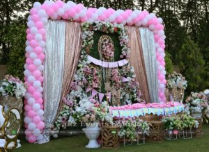 birthday stage, stage decor, imported flowers decor, balloons decor, stages designers