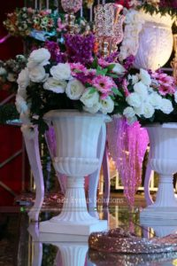imported flowers, stage decor