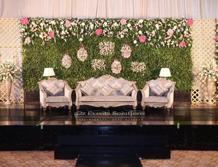 walima stage, fresh flowers decor