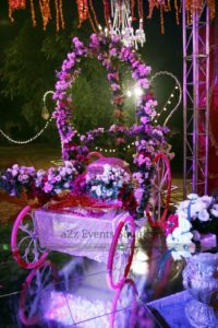 fresh and imported flowers decor, bridal cart