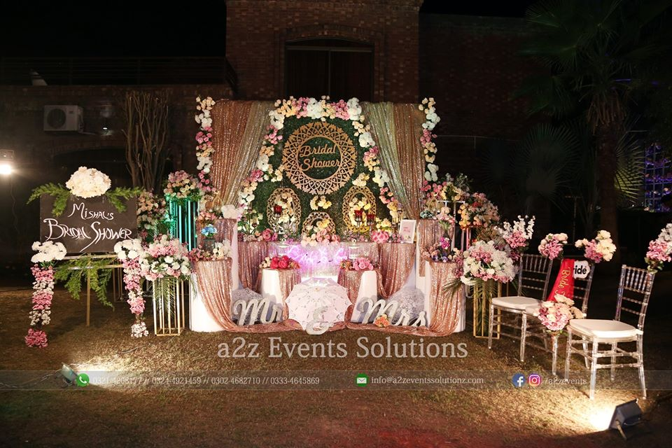 stages designers in lahore, vip thematic bridal shower stage