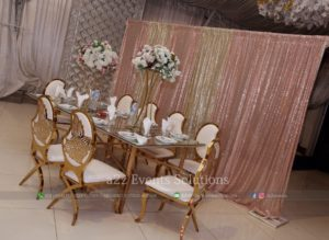 vip chairs, fine dining, head table decor, catering company in lahore
