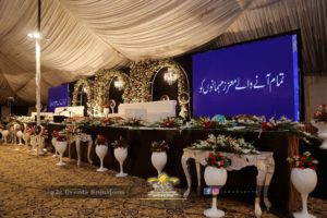 mehfil-milad floral stage, mehfil-e-naat grand stage