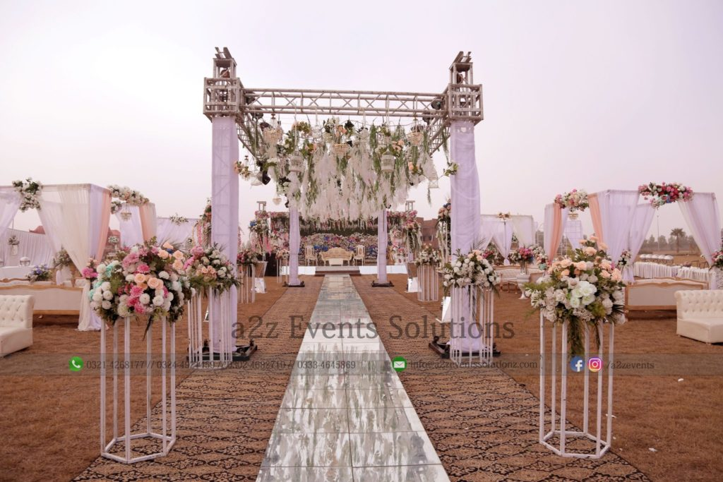 area decor, creative planners and designers, walkway decor, hanging garden, outdoor event,truss , hanging garden