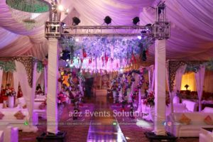 wedding decor, vip barat event setup, truss lighting, truss hanging garden