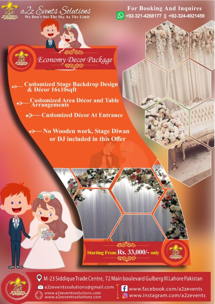 wedding decor packages, economy wedding , cheaper wedding packages ,