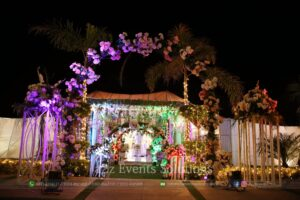 imported and fresh flowers decor, outdoor decor