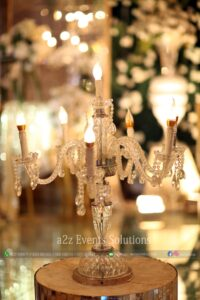 stage decor, standing chandeliers