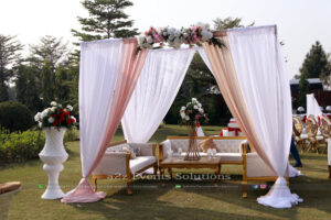 themed gazebo, white thematic outdoor wedding