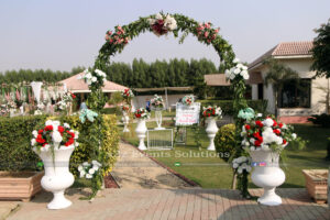 fresh flowers decor, wedding entrance