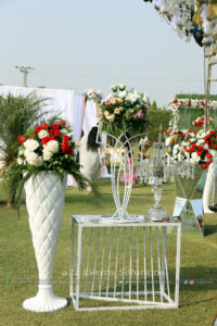 console table flowers decor, white themed vip wedding