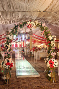 imported flowers decor, floral arch