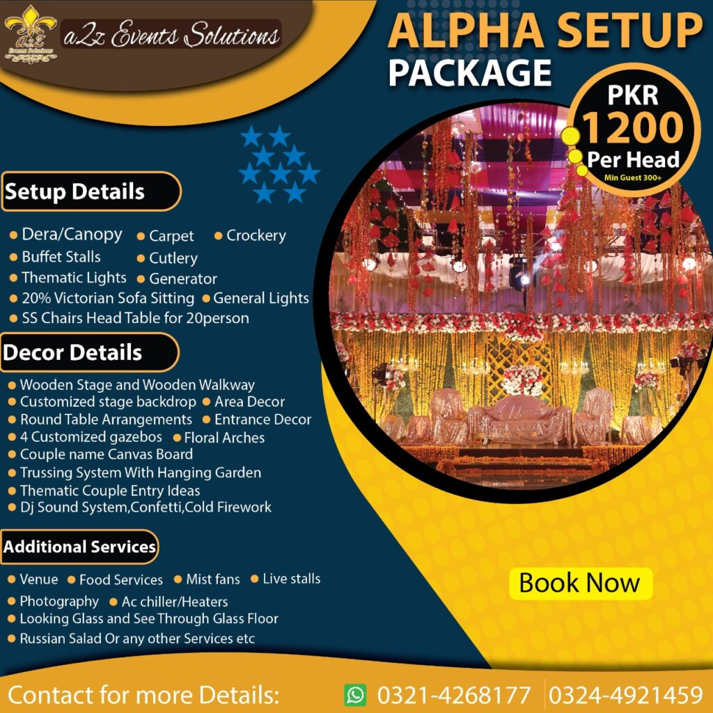 wedding package with decor, wedding packages without food, wedding setup with decor services