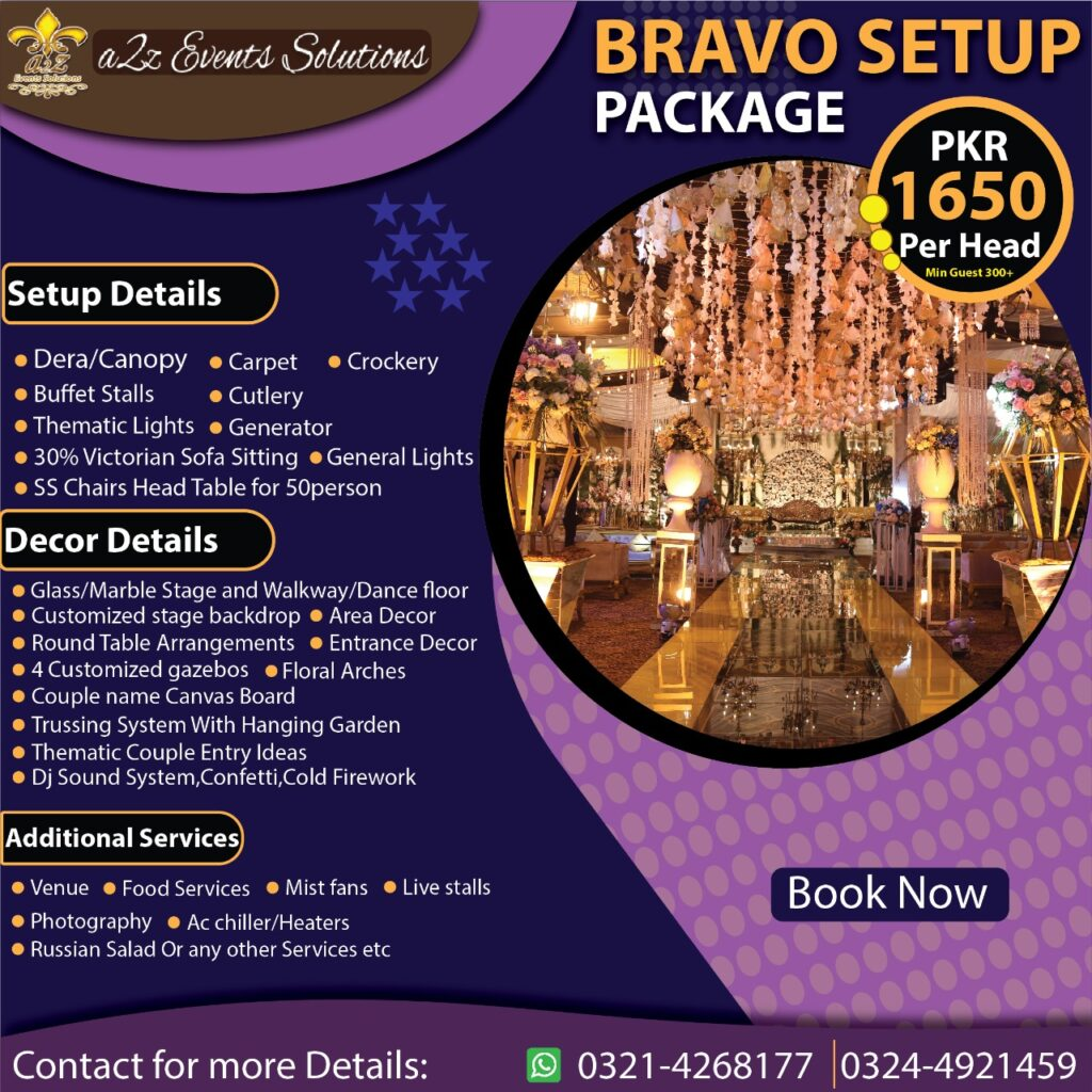wedding packages without food, decor packages , wedding setup with decor packages