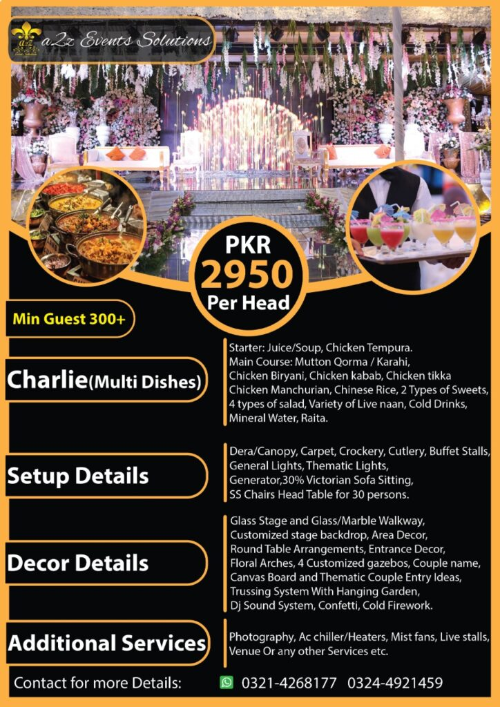wedding packages, wedding packages with multi dishes, wedding packages with food, wedding packages in pakistan