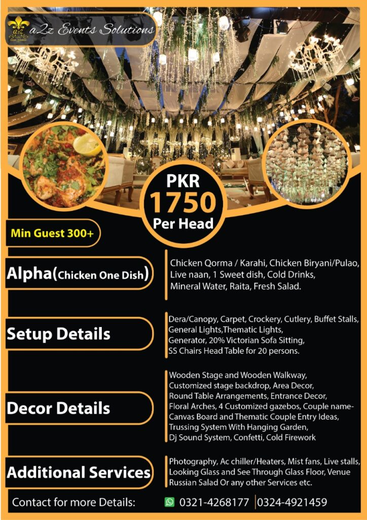 wedding packages, wedding packages with chicken menu, wedding packages with food