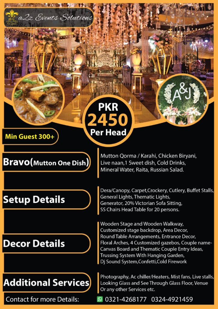 wedding packages, wedding packages with food, wedding packages with mutton menu, wedding packages in lahore