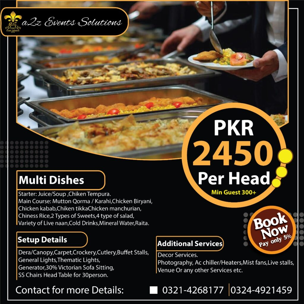 wedding packages with multi-dishes, wedding packages with food