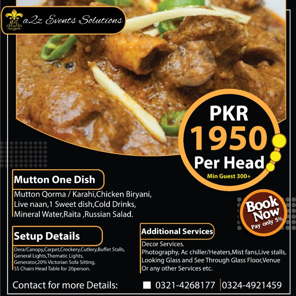 wedding packages without decor, wedding packages with food, wedding packages with mutton